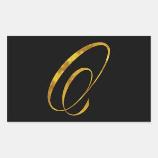 Falsa inicial de encargo de los monogramas de la pegatina rectangular
