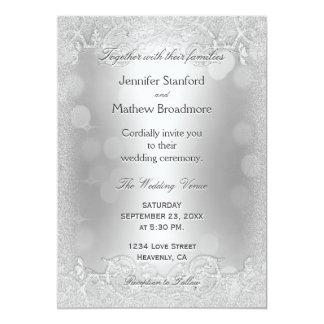 Falsa invitación de plata elegante del boda del
