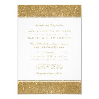 Falsa invitación elegante del boda del brillo del