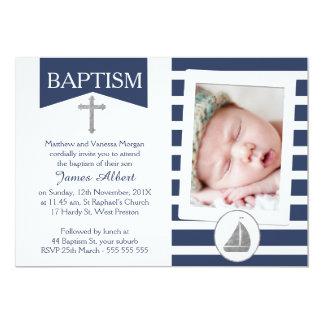 Falsa invitación náutica de plata del bautismo