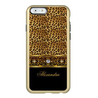 Falsa joya del leopardo del oro salvaje elegante funda para iPhone 6 plus incipio feather shine