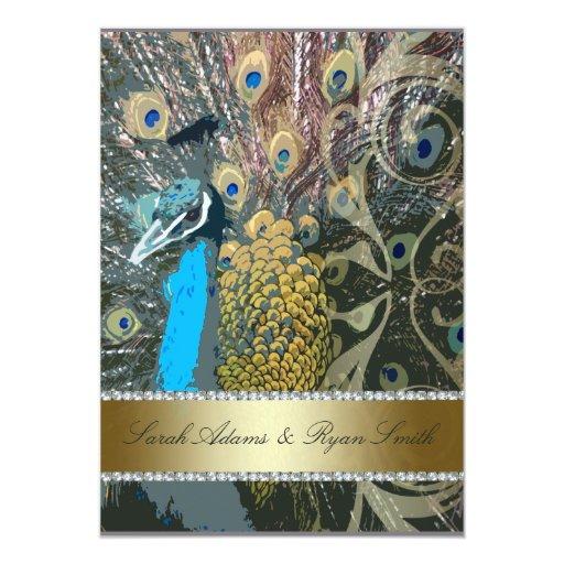 Falsa joya y invitación elegante del boda del pavo