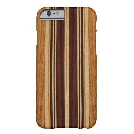 Falsa Koa tabla hawaiana de madera de Nalu Lua Funda De iPhone 6 Barely There