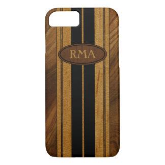 Falsa Koa tabla hawaiana de madera del monograma Funda iPhone 7