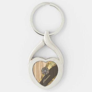 Falsa madera de roble bonita personalizada llavero plateado en forma de corazón