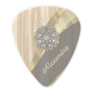 Falsa madera de roble bonita personalizada púa de guitarra de policarbonato