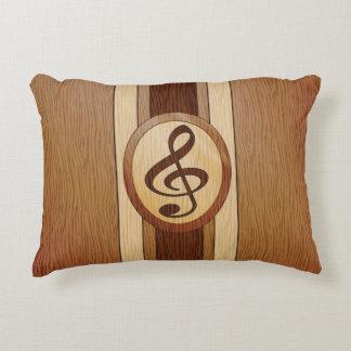 Falsa madera elegante con el clef agudo del cojín decorativo