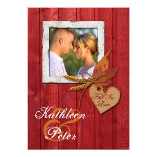 FALSA madera hojas corazón boda de la FOTO del Invitación Personalizada