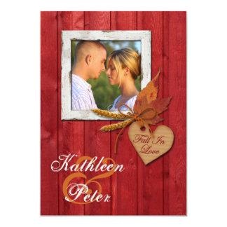FALSA madera, hojas, corazón, boda de la FOTO del Invitación Personalizada