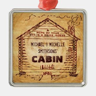 Falsa madera personalizada cabaña de madera adorno navideño cuadrado de metal