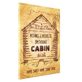 Falsa madera personalizada cabaña de madera impresión en lienzo