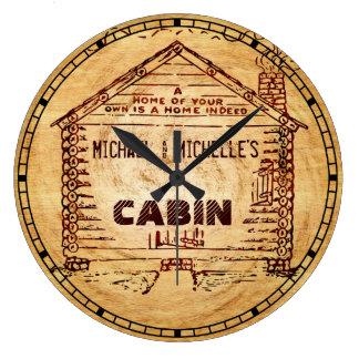 Falsa madera personalizada cabaña de madera reloj redondo grande