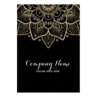 Falsa mandala floral negra del brillo y del oro tarjetas de visita grandes