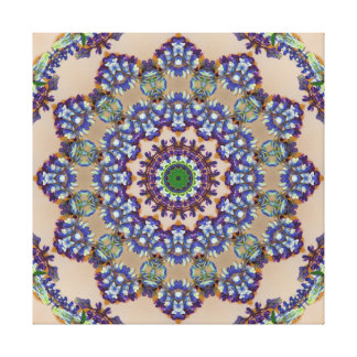 Falsa mandala hecha punto multicolora impresión en lienzo