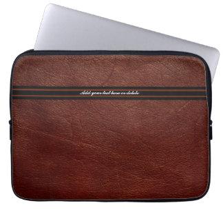 Falsa manga de cuero de Brown - personalizar Fundas Ordendadores
