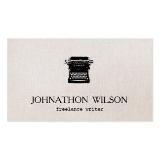 Falsa máquina de escribir de lino del vintage del tarjetas de visita