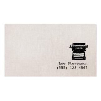 Falsa máquina de escribir de lino del vintage del plantilla de tarjeta de negocio