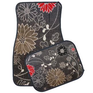 Falsa materia textil floral con las flores rojas, alfombrilla de coche