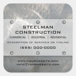 Falsa Metal-Mirada de plata cepillada promocional Pegatina Cuadrada