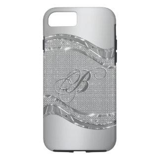 Falsa mirada metálica de plata con el modelo 2 de funda iPhone 7