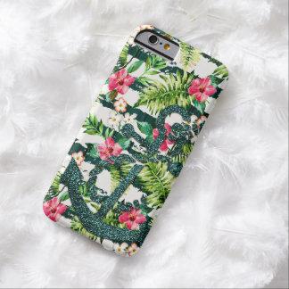 Falsa moda floral tropical del ancla del brillo funda de iPhone 6 barely there