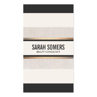 Falsa moda rayada blanco y negro de la hoja de oro tarjetas de visita