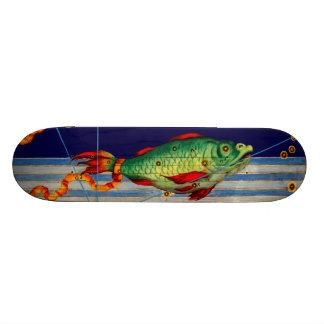 Falsa pared del arte del vintage de la pesca del s tablas de skate
