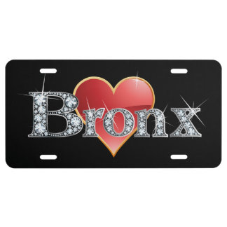 "Falsa placa de Bling del ""diamante"" de Bronx Placa De Matrícula"
