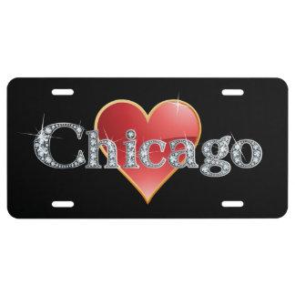 Falsa placa de Bling del diamante de Chicago Placa De Matrícula