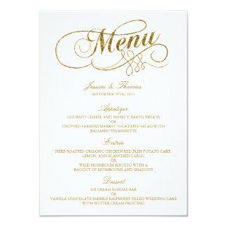 """Falsa plantilla elegante del menú del boda de la invitación 4.5"""" x 6.25"""""""