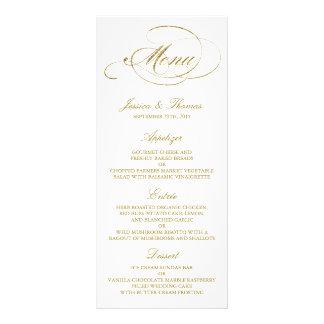 Falsa plantilla elegante del menú del boda de la lona