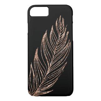 Falsa pluma del brillo del oro color de rosa funda iPhone 7