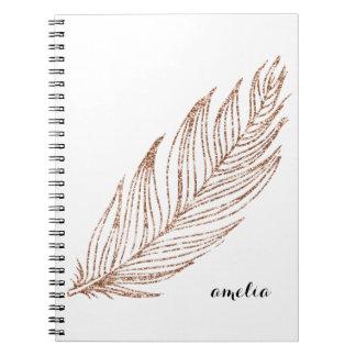 Falsa pluma del brillo del oro color de rosa libro de apuntes