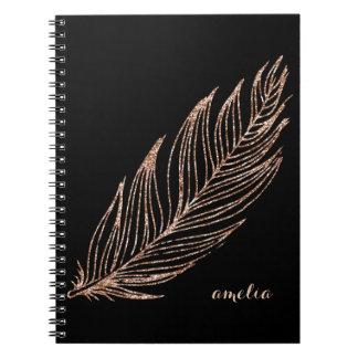 Falsa pluma del brillo del oro color de rosa libros de apuntes con espiral