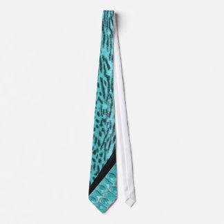 Falsa raya de la cebra de la aguamarina y corbata
