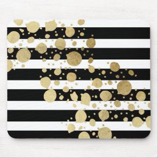 Falsa salpicadura de la pintura del oro en rayas alfombrillas de ratón