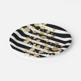 Falsa salpicadura de la pintura del oro en rayas plato de papel de 7 pulgadas