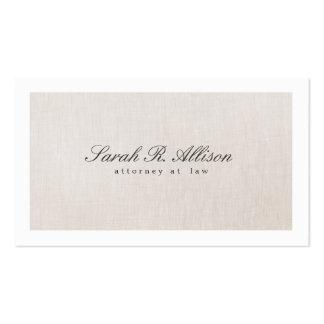Falsa tarjeta de visita beige elegante de lino del