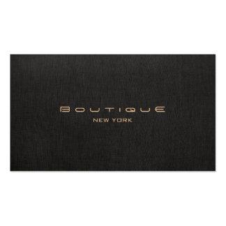 Falsa tarjeta de visita de lino negra del boutique