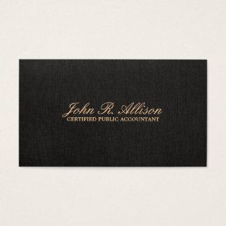 Falsa tarjeta de visita de lino negra simple del