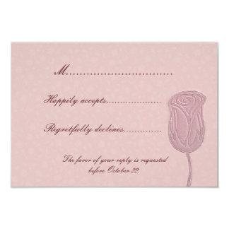 Falsa tarjeta floral color de rosa grabada en invitación 8,9 x 12,7 cm