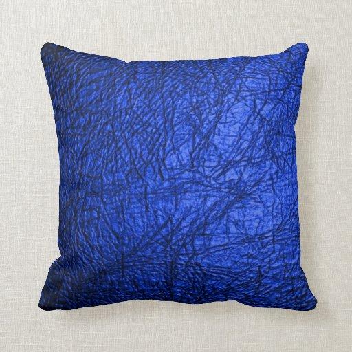 Falsa textura de cuero azul cojin