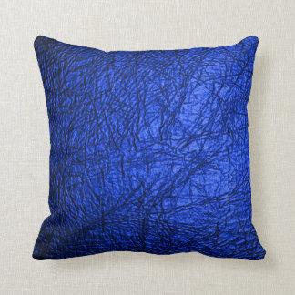 Falsa textura de cuero azul cojín decorativo
