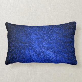 Falsa textura de cuero azul cojín lumbar