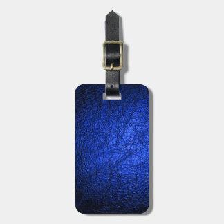 Falsa textura de cuero azul etiquetas maletas