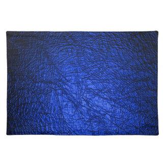 Falsa textura de cuero azul manteles individuales