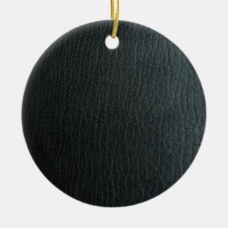 Falsa textura de cuero negra adorno navideño redondo de cerámica