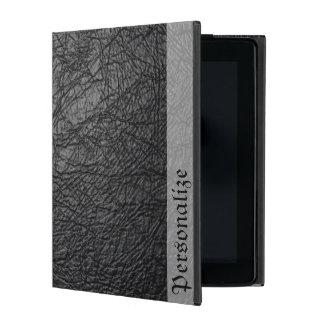 Falsa textura de cuero negra con nombre personaliz iPad carcasa