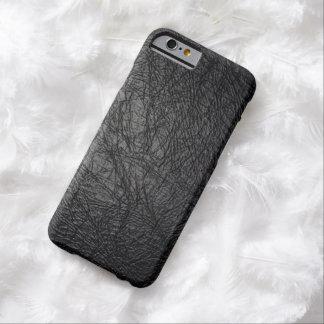 Falsa textura de cuero negra funda de iPhone 6 barely there