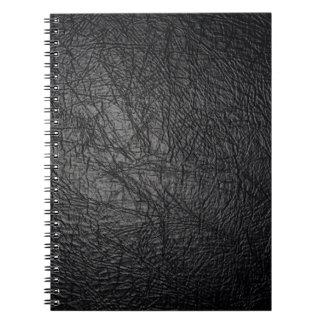 Falsa textura de cuero negra libretas espirales